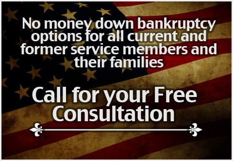 No money down bankruptcy options for all current and former service members and their families